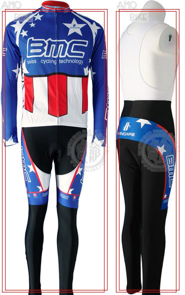 BMC 2010 Blue Cycling Long Sleeve Jersey & BIB Long Pants kit Size S/M/L/XL/XXL/XXXL Price $38